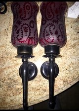 Burgundy glass wall candle holder really great condition in Lackland AFB, Texas