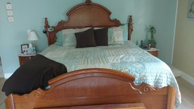 """""""King"""" Bedroom set includes Headboard/Footboard mattress and two in tables in Camp Lejeune, North Carolina"""