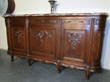 Antique Sideboard Brown and White Marble Top in Ramstein, Germany