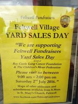 huge Felt well village yard sale in Lakenheath, UK