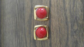 Pierced earrings - red and gold in Batavia, Illinois