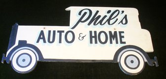 Vintage Wood Auto and Home Insurance Advertising Sign in Naperville, Illinois