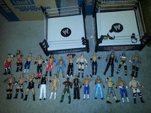 24 pcs wrestling action figures and 2 rings in Pasadena, Texas