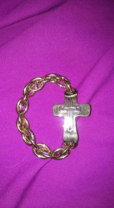 Adjustable Metal Bracelet with Cross in Fort Bliss, Texas