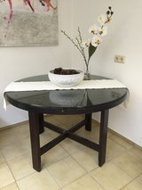 Heavy Wooden Glasstop Dining Table - Dark Brown/Black in Ramstein, Germany
