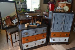 Industrial Vintage Shabby Rustic Dresser Armoire Mirror 3 PC Set in Bolingbrook, Illinois