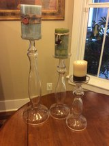 3 Clear Pedestal Glass Candle Holders w/ Candles- Reduced in Beaufort, South Carolina