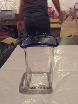 Reduced! Clear Vase with Cobalt Blue Lip in Bolingbrook, Illinois