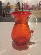 Reduced! Small Glass Orange Pitcher in Chicago, Illinois