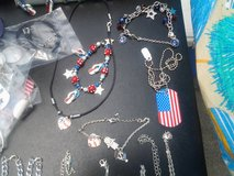 Patriotic Flip Flop and Flag Heart Earrings, Bracelet and Necklace in Camp Lejeune, North Carolina