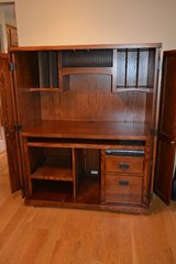 Mission Style Computer Armoire Desk by Martin Furniture (with doors open) in Aurora, Illinois