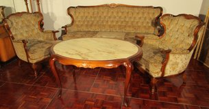 Antique Chippendale Couch Set with 3 Seater Couch, 2 Chairs and a Table in Ramstein, Germany