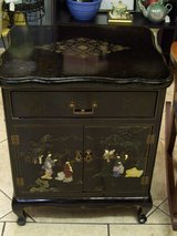Vintage Asian Black Lacquer Cabinet with Soapstone Artwork in Warner Robins, Georgia