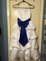 White Satin Flower Girl Dress Sz 7 with Royal Blue Sash-David's Bridal in The Woodlands, Texas