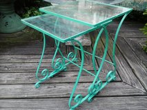 Vintage pair iron and glass green tables patio in Plainfield, Illinois