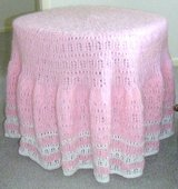 "Hand-knitted 28"" dia.pink/white tablecloth in Quad Cities, Iowa"