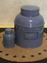 Blue Tin Canisters - (set of 2) in Sandwich, Illinois