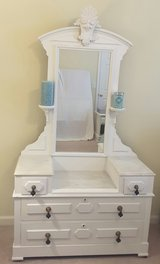 Reduced..1800s Eastlake Marble Top Dresser with Mirror in Hinesville, Georgia