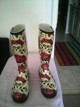 Skull and roses rainboots in Quantico, Virginia