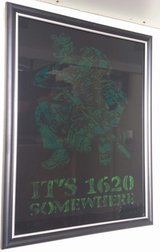 """""""It's 1620 Somewhere"""" painting on glass in Nellis AFB, Nevada"""
