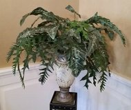 Greenery in Urn - Large arrangement of greenery in ivory color urn in Naperville, Illinois