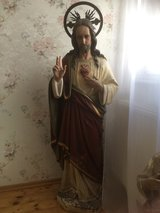 Very nice big antique Jesus with crown, ca 50 inch high in Ramstein, Germany