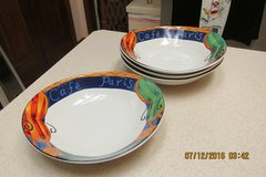 "Set of 4 ""Cafe Paris"" Cereal--Salad--Soup Bowls By ""Furio"" -- Never Used in Kingwood, Texas"