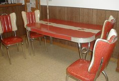 Vintage Retro Dining Table and Chairs Braided Chrome Red and White in Naperville, Illinois