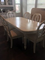 White washed dining room set with custom leaf in Los Angeles, California