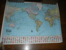 Colorprint Mercator Projection Classroom Map Of The World 1993 Laminated in Houston, Texas
