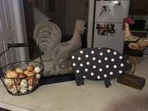Country decor. Roosters, cow, pig in Fort Gordon, Georgia
