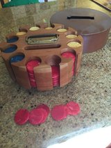 Poker chips in turntable holder in Vacaville, California