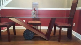 Glass, mahogany and marble Dining Room Table in Baytown, Texas