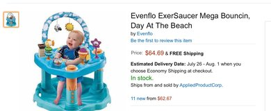 Evenflo ExerSaucer Mega Bouncin, Day At The Beach in Baytown, Texas