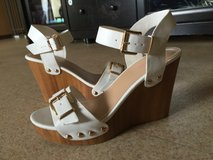 White wedges size 8 worn once in Okinawa, Japan