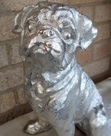 PUG DOG Aluminium Cast Statue Silver Ornament Large Almost Life Size Finely Detailed & Heavy in Lakenheath, UK