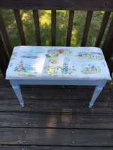 Beach scene refinished bench with storage in bookoo, US