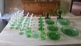 Huge set of Green Depression Glassware in Naperville, Illinois