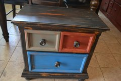 Rustic Shabby Industrial Barn Distressed Nightstand End Accent Table Wood Entry in Lockport, Illinois