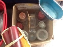 Box of vases, candles, and candle holders in Cherry Point, North Carolina