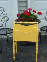 sunflower yellow vintage shabby chic magazine stand in Naperville, Illinois