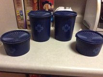 Blue Tupperware canisters in Chicago, Illinois
