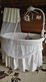 """Rattan baby  cradle XXL size """"ALVI""""with bedding and mobile w/remote controle in Ramstein, Germany"""