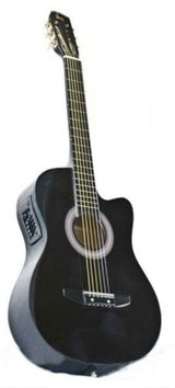 Electric Acoustic Guitar Cutaway Design With Guitar Case, Strap Black New in Fairfield, California