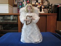 "16""H Angel w/harp, lace & feathers. Porcelain face-NEW in Beaufort, South Carolina"
