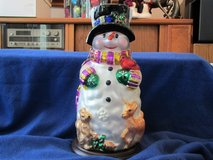 "Mercury Blown Glass Snowman 13""T on wooden base. NEW! in Beaufort, South Carolina"