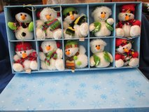 "10-5"" Quacker Factory Plush Snowmen w/scarfs & hangers.NEW in box-Retired! 3 sets sold in boxed ... in Beaufort, South Carolina"