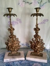 RETRO Vintage Italian Pair of Brassy and Marble Base Candle Sticks in Beaufort, South Carolina