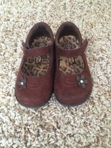 Girls Shoes-Brown Suede with Flowers-Size 5-Smart Fit in Joliet, Illinois
