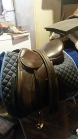 "15"" English Saddle includes leather girth and new pad in Goldsboro, North Carolina"